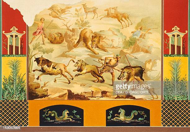 Reproduction of a fresco depicting a scene of a great hunt from The Houses and Monuments of Pompeii by Fausto and Felice Niccolini Volume II General...