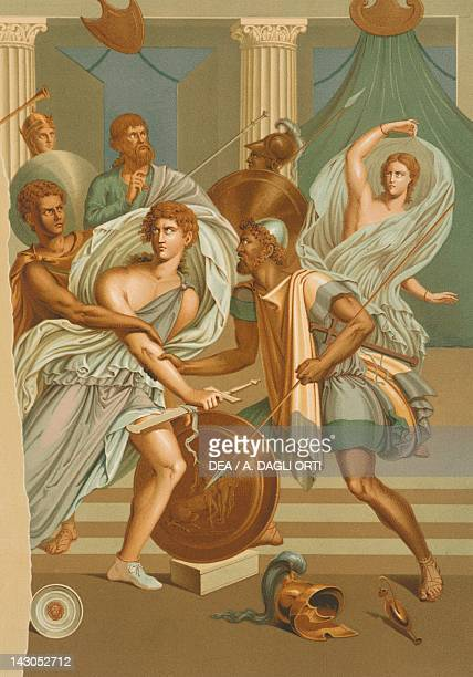 Reproduction of a fresco depicting Achilles among the maidens of Scyros from the Houses and Monuments of Pompeii by Fausto and Felice Niccolini...