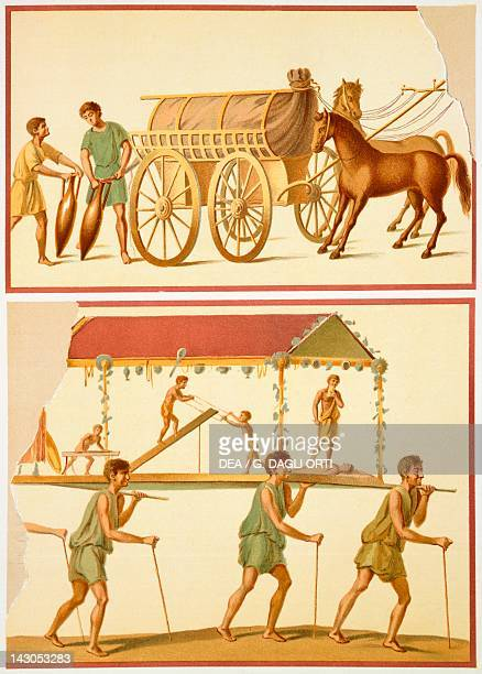 Reproduction of a fresco depicting the transport of goods on a wagon and a sedan chair from The Houses and Monuments of Pompeii by Fausto and Felice...