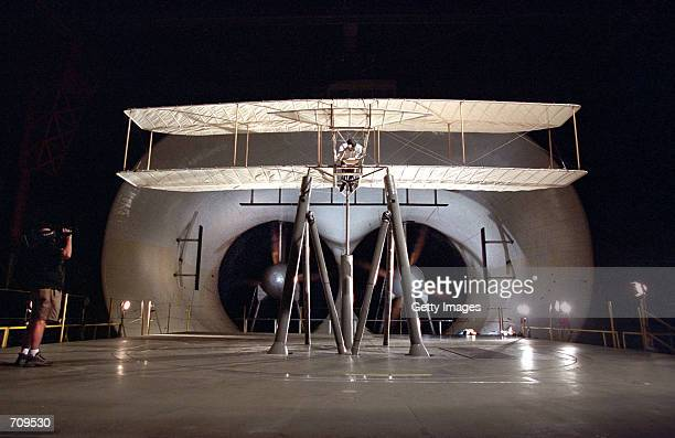A reproduction of a glider built by the Wright brothers in 1902 undergoes wind tunnel tests at NASA's Langley Research Center at Old Dominion...