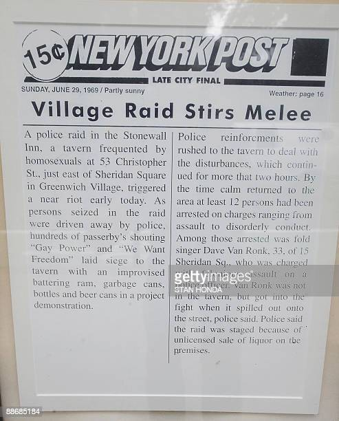 A reproduction of a June 29 1969 New York Post story about a police raid that led to the Stonewall riots on display at the Stonewall Inn on...