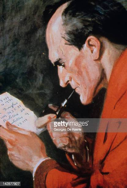A reproduction of a painting portraying fictional detective Sherlock Holmes smoking a pipe 8th December 1986