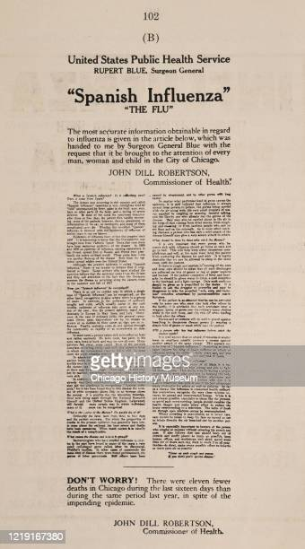 Reproduction of an announcement by United States Attorney General Rupert Blue and Chicago Commissioner of Health John Dill Robertson that reports on...