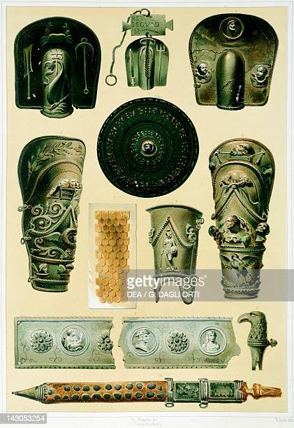 Reproduction of armor and weapons from the Houses and Monuments of Pompeii by Fausto and Felice Niccolini Volume I Barracks of the Gladiators Plate...
