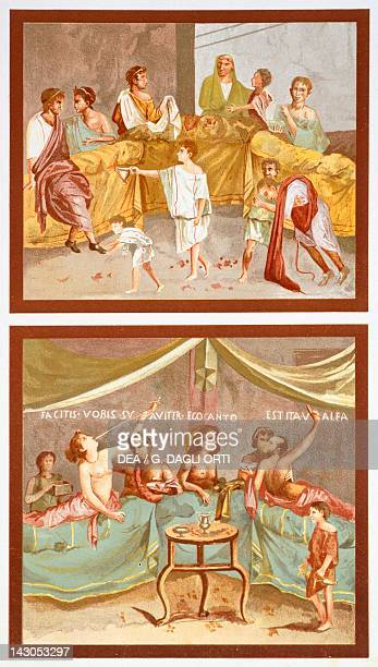 Reproduction of frescoes depicting banquet scenes from The Houses and Monuments of Pompeii by Fausto and Felice Niccolini Volume IV Supplement Plate...