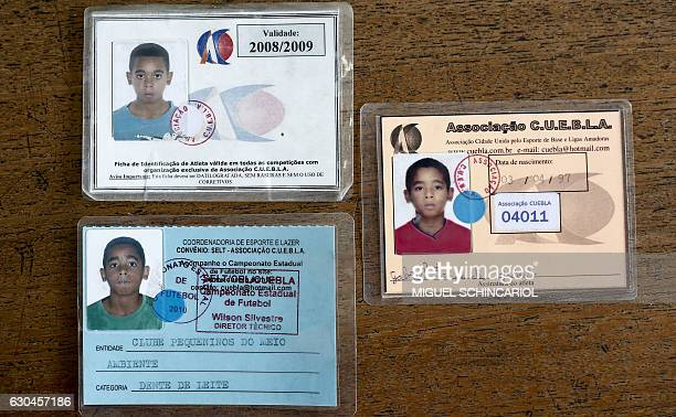 Reproduction of identity cards of Brazilian footballer Gabriel Jesus when he started his career at the Clube Pequeninos do Meio Ambiente in the...