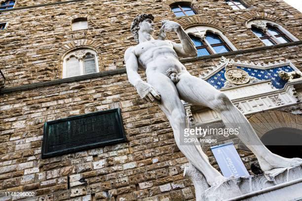 Reproduction of Michelangelo's statue David at the entrance of Palazzo Vecchio, in Piazza della Signoria. .