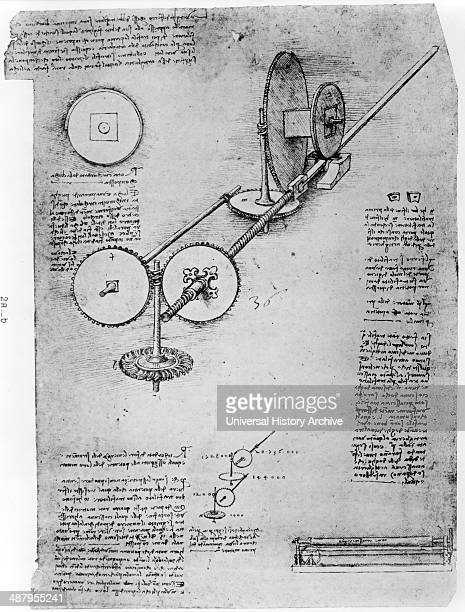 Reproduction of page from notebook showing the operation of a mechanical wing by Leonardo da Vinci 14521519 Dated between 1894 and 1904