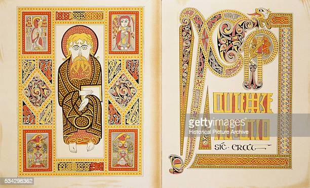 'Reproduction of St Matthew and an Illuminated Initial Page from Codex 51 Latin Gospels '