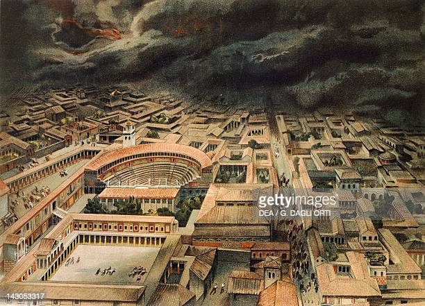 Reproduction of the eruption of Mt Vesuvius from The Houses and Monuments of Pompeii by Fausto and Felice Niccolini Volume IV Essays in Restoration...