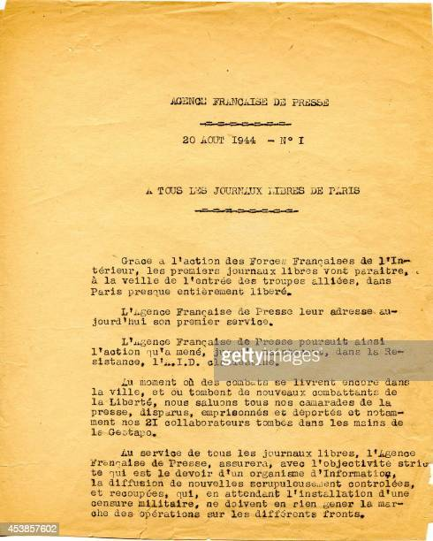 Reproduction of the first news dispatch of the Agence Française de Presse reading To all free newspapers of Paris and released on August 20 1944 from...