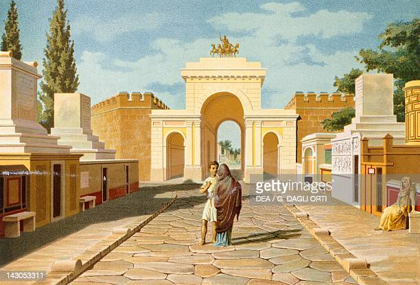Reproduction of the Gate of Herculaneum from The Houses and Monuments of Pompeii by Fausto and Felice Niccolini Volume IV Essays in Restoration Plate...