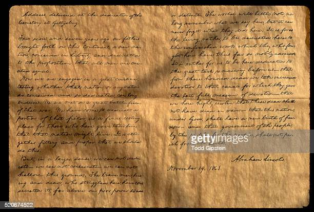 reproduction of the gettysburg address - gettysburg address stock photos and pictures