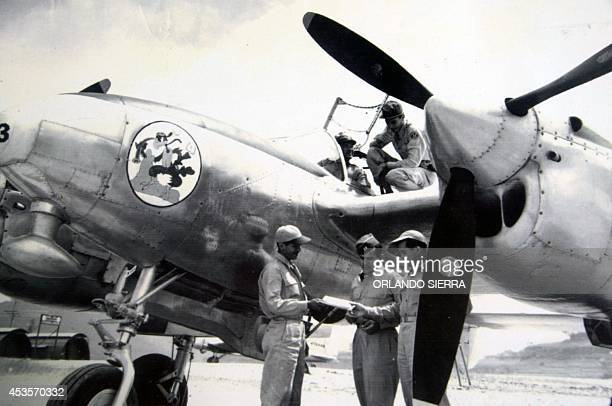 Reproduction taken on August 13 2014 at the Museum of Militar History in Tegucigalpa of a file picture dated July 12 1969 showing Honduran Air Force...