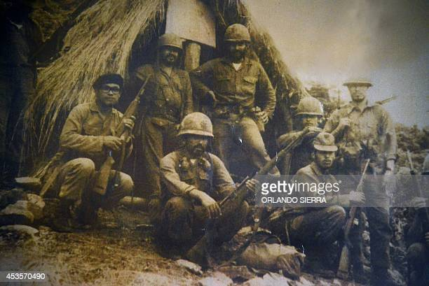 Reproduction taken on August 13 2014 at the Museum of Militar History in Tegucigalpa of a file picture dated July 16 1969 showing Honduran soldiers...
