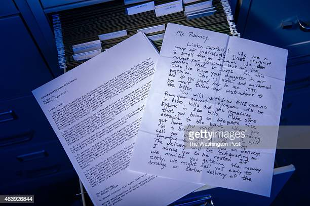 Reproduction writing samples from the UNABOMBER the DC Sniper and the Jonbenet Ramsey murder all cases worked on by forensic linguist Jim Fitzgerald...