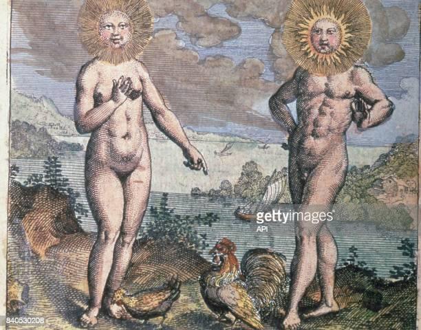 Représentation alchimique du soleil et de la lune illustration du livre d'alchimie 'Atalanta fugiens' de Michael Maier publié en 1617