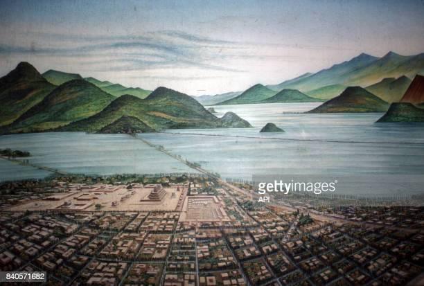 Représentation de la cité aztèque de Tenochtitlan sur le lac de Texcoco à l'arrivée d'Hernan Cortes Mexique