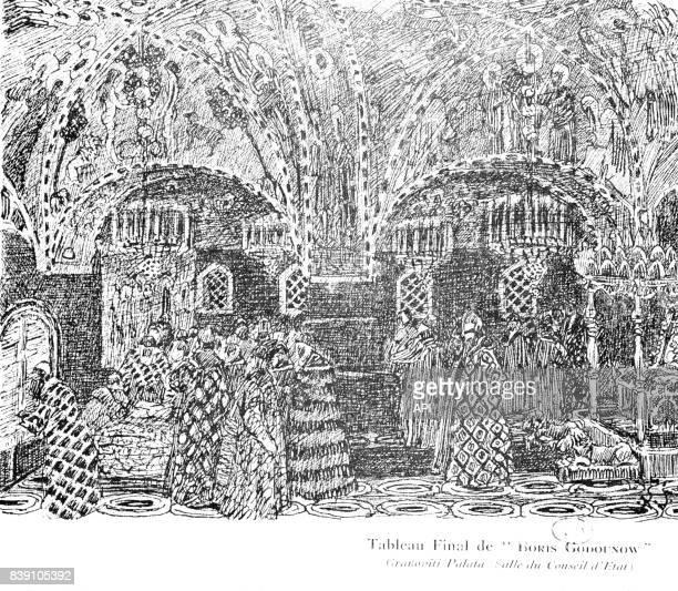Représentation de l'opéra 'Boris Godounov' de Modeste Moussorgski d'après une peinture d'Alexandre Golovine