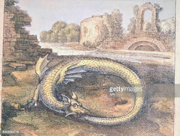 Représentation d'un ouroboros un dragon se mordant la queue illustration du livre d'alchimie 'Atalanta fugiens' de Michael Maier publié en 1617