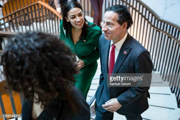 Reps Alexandria Ocasio Cortez and Jamie Raskin leave a closeddoor briefing from Vice President Mike Pence and Anthony Fauci Director of the National...