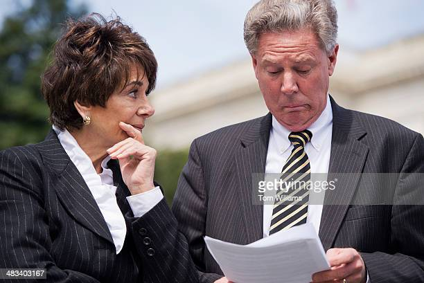 Reps Anna Eshoo DCalif and Frank Pallone DNJ talk during a news conference at the House Triangle on the dangers faced by Christians and Armenians in...