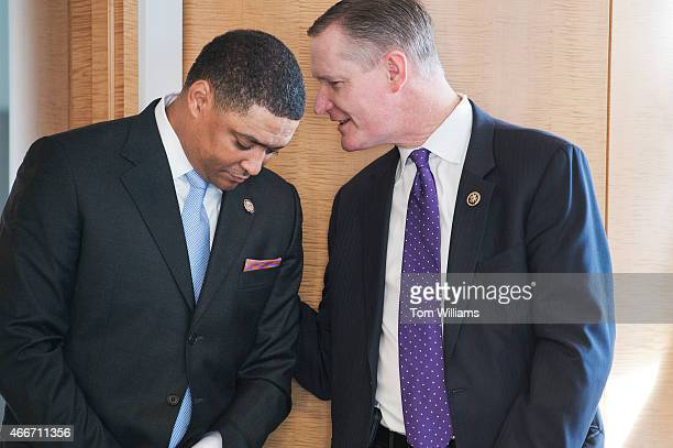 Reps Cedric Richmond DLa left and Steve Stivers ROhio attend an event at 101 Constitution Avenue with the National Bankers Association Visa and NFL...