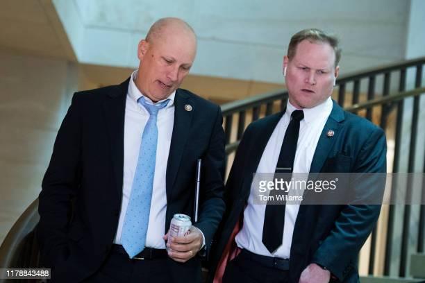 Reps Chip Roy RTexas left and Steve Watkins RKan arrive in the Capitol Visitor Center for the deposition of Lt Col Alexander Vindman director of...