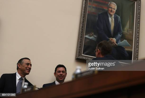 S Reps Darrell Issa and Jason Chaffetz talk before the start of a House Judiciary Committee hearing on March 16 2017 in Washington DC Judges with the...