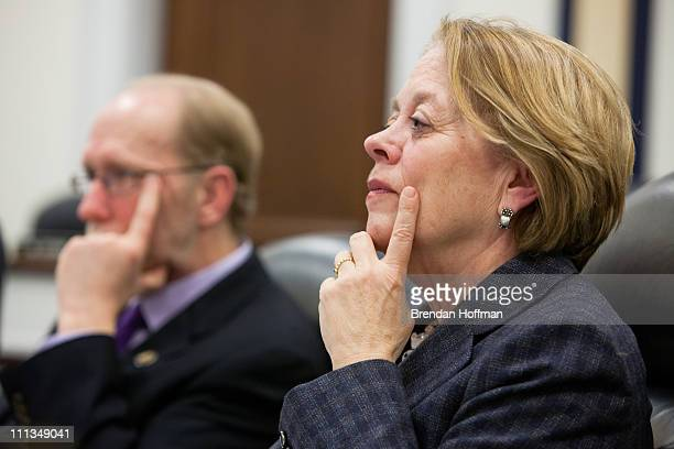 Reps David Loebsack and Niki Tsongas listen to testimony during a hearing on Capitol Hill on April 1 2011 in Washington DC The hearing focused on the...