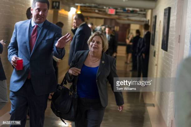 Reps Devin Nunes RCalif and Ileana RosLehtinen RFla leave a meeting of the House Republican Conference in the Capitol on September 6 2017