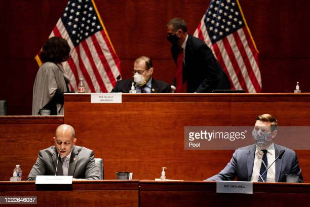 S Reps Hakeem Jeffries and Eric Swalwell attend a hearing of the House Judiciary Committee on at the Capitol Building June 24 2020 in Washington DC...