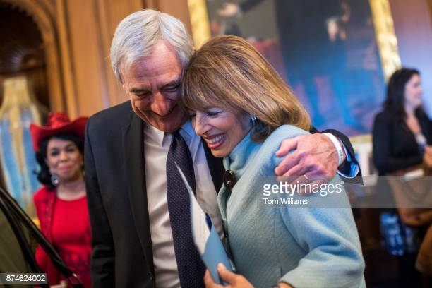 Reps Jackie Speier DCalif and Rick Nolan DMinn attend a ceremony in the Capitol on November 15 to name the House Democratic Cloakroom in honor of...