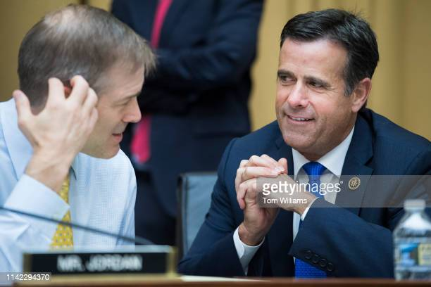 Reps Jim Jordan ROhio and John Ratcliffe RTexas are seen during a House Judiciary Committee markup in Rayburn Building on Wednesday May 8 to vote on...