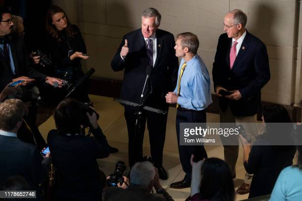 Reps Jim Jordan ROhio center Mark Meadows RNC left and Mike Conaway RTexas conduct a news conference in Capitol Visitor Center where Charles...