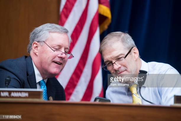 Reps Jim Jordan ROhio right and Mark Meadows RNC are seen during a House Oversight and Reform Committee hearing in Rayburn Building on security...