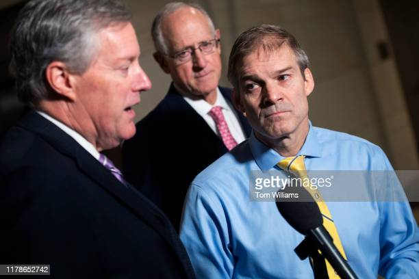 Reps Jim Jordan ROhio right Mark Meadows RNC left and Mike Conaway RTexas conduct a news conference in Capitol Visitor Center where Charles Kupperman...