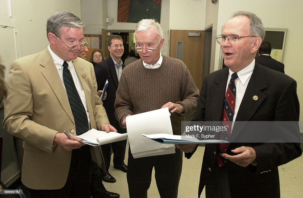 Reps. Joe Barton (R-TX), Amory Houghton (R-NY) and Cass Ballenger (R-NC) practice lines backstage during Hexagon's 2002 Congress Night, on Wednesday at the Duke Ellington School of the Arts.