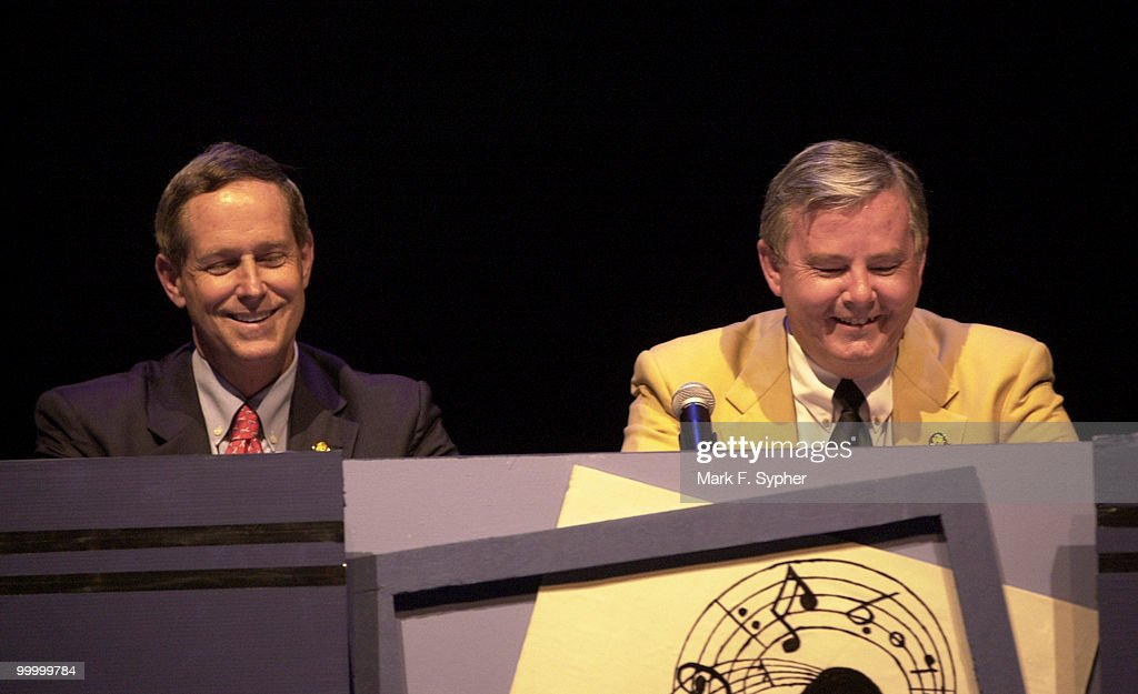 Reps. Joe Wilson (R-SC) (I didn't see him in the book) and Joe Barton (R-TX) can hardly contain themselves during a 'Newsbreak' during Hegagon's 2002 Congress Night, on Wednesday.
