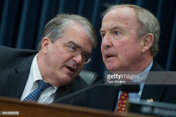 Reps John Culberson RTexas left subcommittee chairman and Rodney Frelinghuysen RNJ full committee chairman conduct a House Appropriations Commerce...