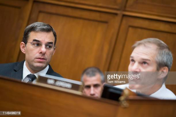 Reps Justin Amash RMich left and ranking member Rep Jim Jordan ROhio are seen during a House Oversight and Reform Committee markup in Rayburn...