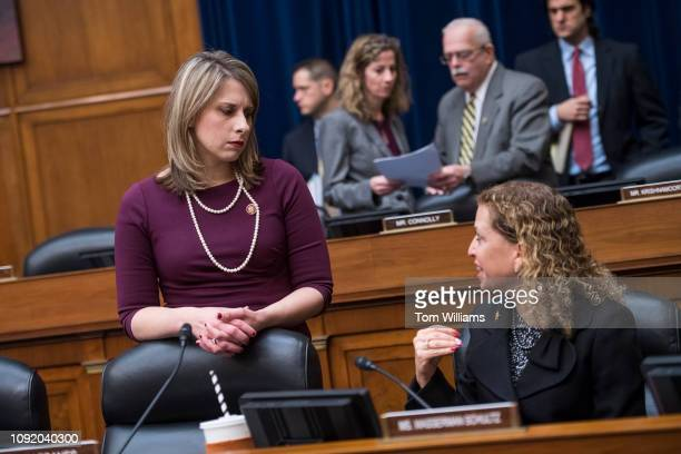 Reps Katie Hill DCalif left and Debbie Wasserman Schultz DFla attend a House Oversight and Reform Committee business meeting in Rayburn Building on...