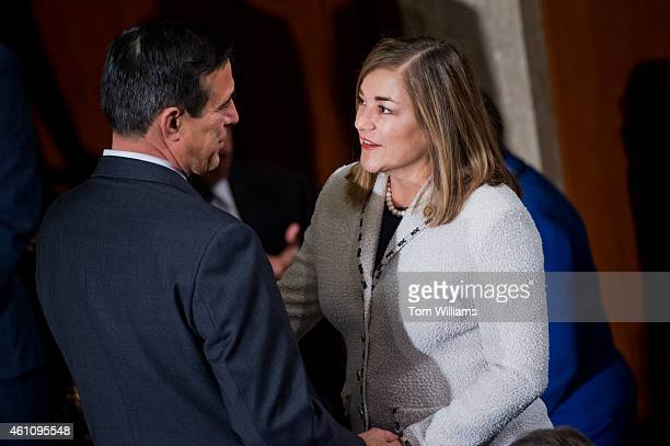 Reps Loretta Sanchez DCalif and Darrell Issa RCalif are pictured before the 114th Congress was sworn in on the House floor of the Capitol January 6...