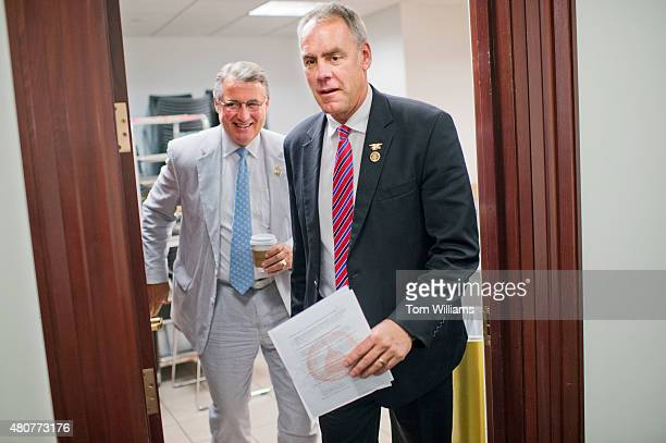 Reps Ryan Zinke RMont right and Rick Allen RGa leave a meeting of the House Republican Conference in the Capitol July 8 2015