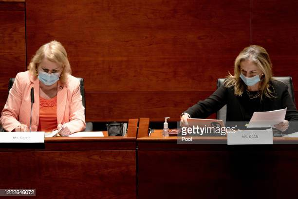S Reps Sylvia Garcia and Madeleine Dean attend a hearing of the House Judiciary Committee on at the Capitol Building June 24 2020 in Washington DC...