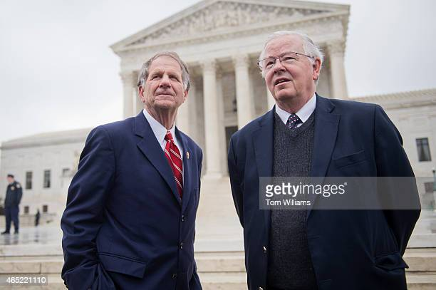Reps Ted Poe RTexas left and Joe Barton RTexas attend a rally outside of the Supreme Court during arguments in the King v Burwell case which deals...