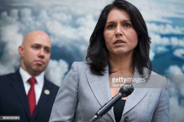 Reps Tulsi Gabbard DHawaii and Brian Mast RFla conduct a news conference in Rayburn Building on the Burn Pits Accountability Act which evaluates the...