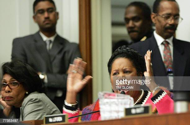 RepSheila Jackson Lee becomes emotional while asking questions during the House Judiciary Committee hearing on the Jena Six 16 October 2007 on...