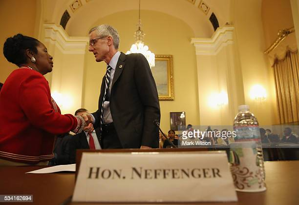 RepSheila Jackson Lee greets TSA Administrator Peter V Neffenger before the start of a House Homeland Security Committee hearing on Capitol Hill May...
