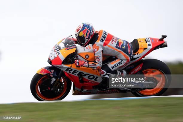 Repsol Honda rider Dani Pedrosa in qualifying during The 2018 Australian MotoGP at The Phillip Island Circuit in Victoria Australia on October 27 2018